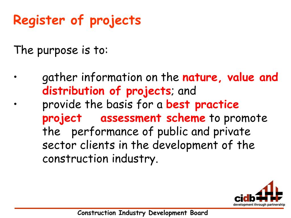 Register of projects