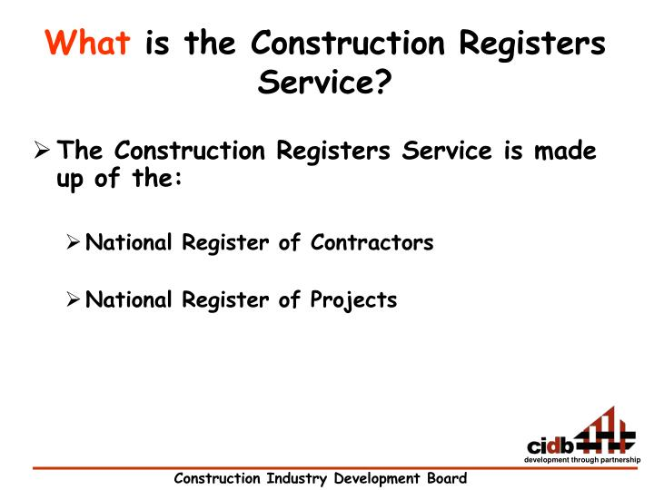 What is the construction registers service
