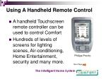 using a handheld remote control