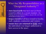 what are my responsibilities as a designated authority