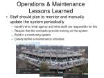 operations maintenance lessons learned