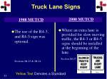 truck lane signs