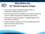 what makes the 15 th world congress unique