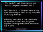 why the oem park brake system was possibly designed the way it was6
