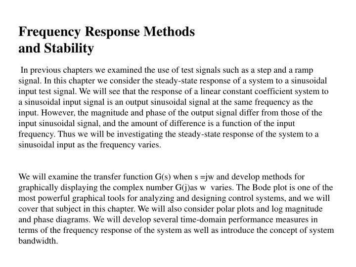 Frequency Response Methods