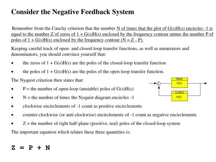 Consider the Negative Feedback System
