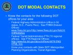 dot modal contacts