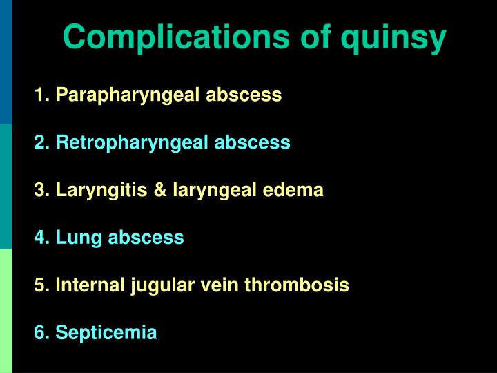 Complications of quinsy