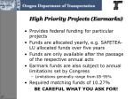 high priority projects earmarks
