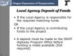 local agency deposit of funds