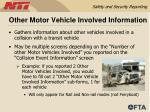 other motor vehicle involved information