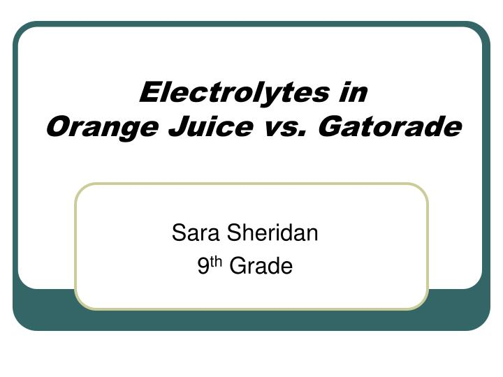 Electrolytes in