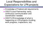local responsibilities and expectations for lpa projects