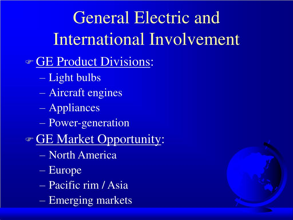 general electric and international involvement l.