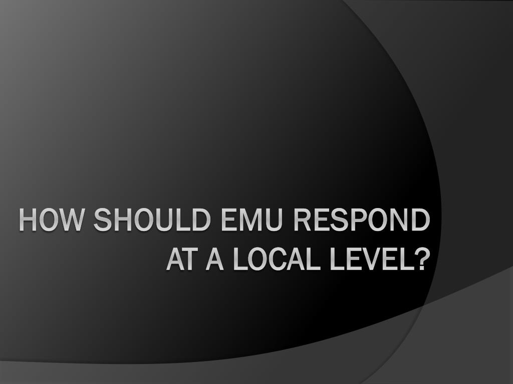 HOW SHOULD EMU RESPOND AT A LOCAL LEVEL?