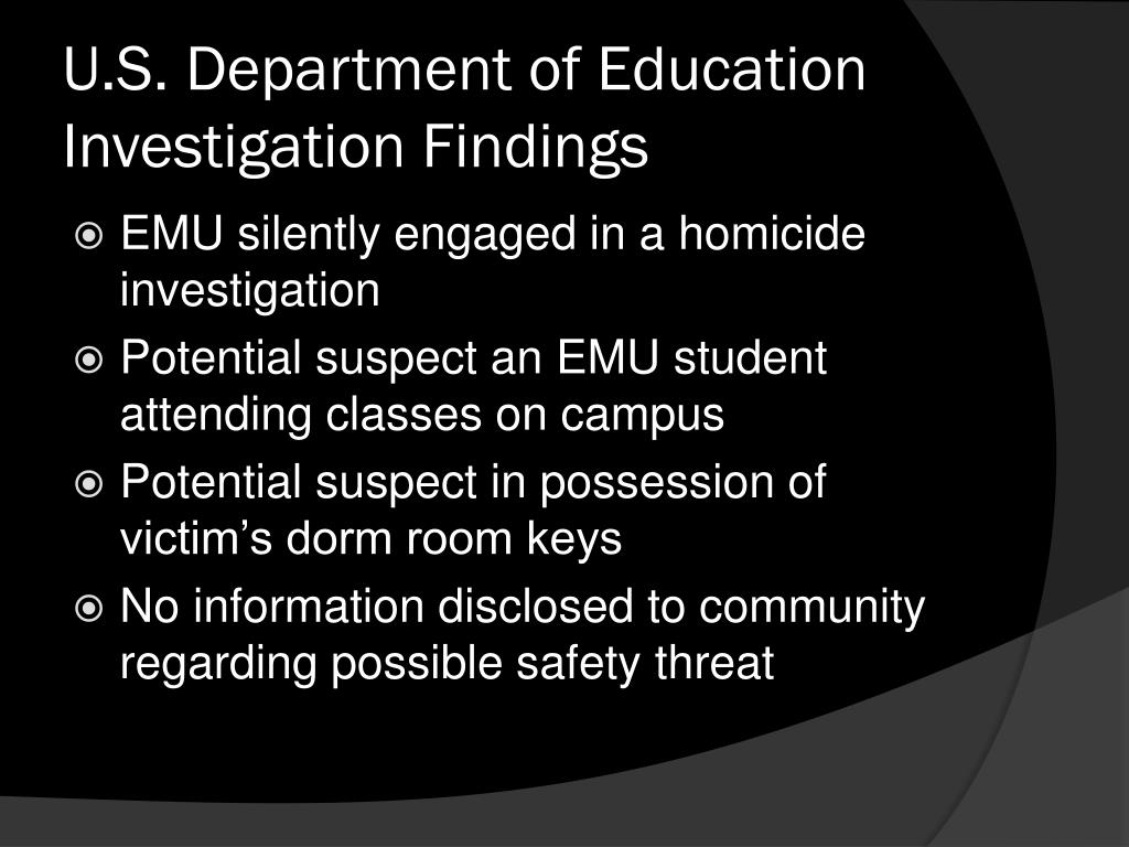 U.S. Department of Education Investigation Findings