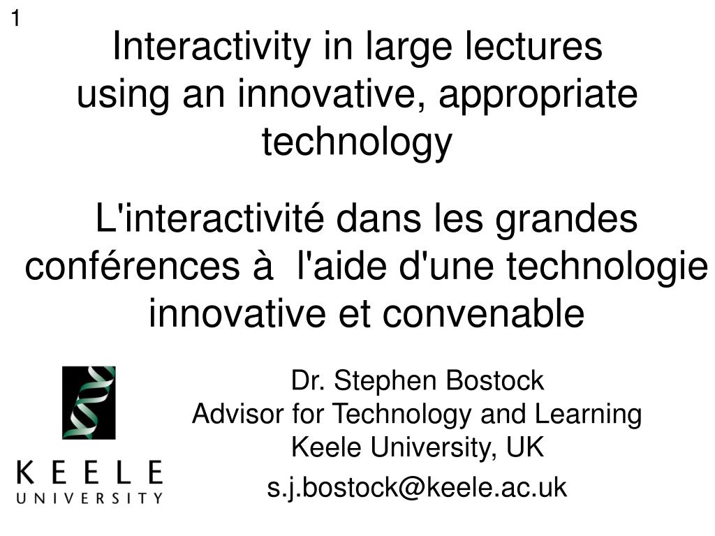 interactivity in large lectures using an innovative appropriate technology l.