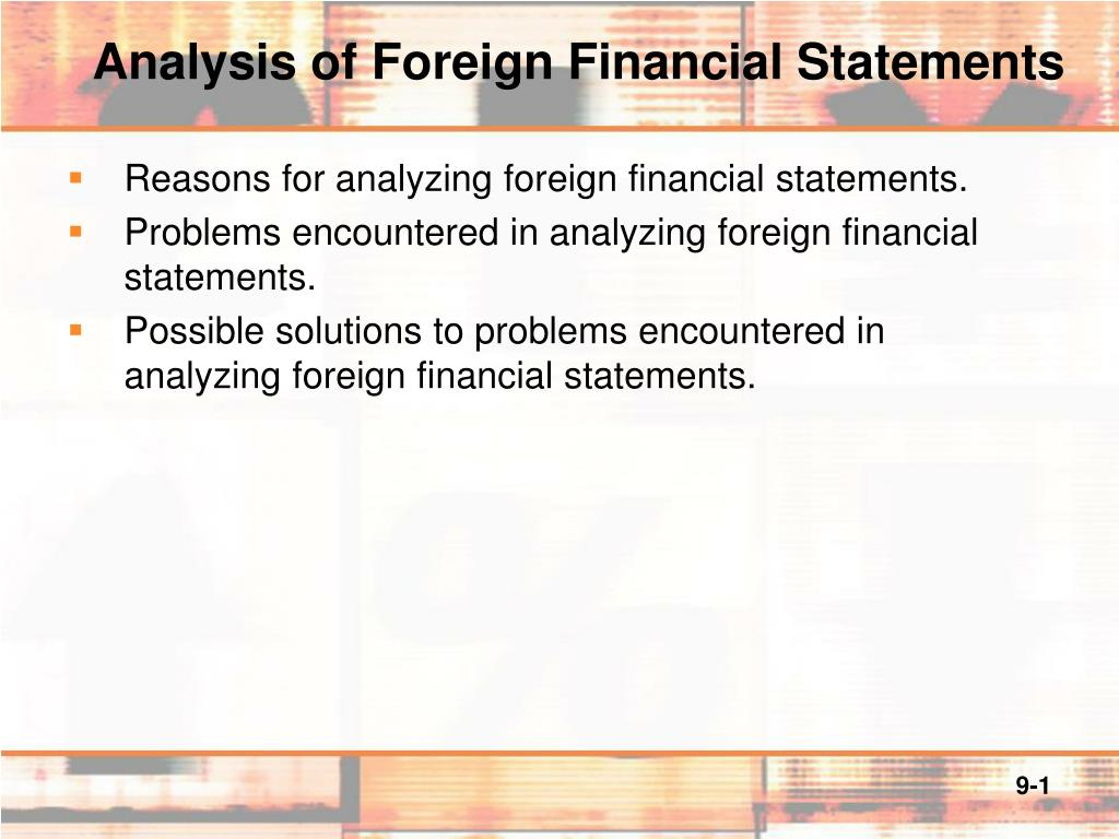analysis of foreign financial statements l.