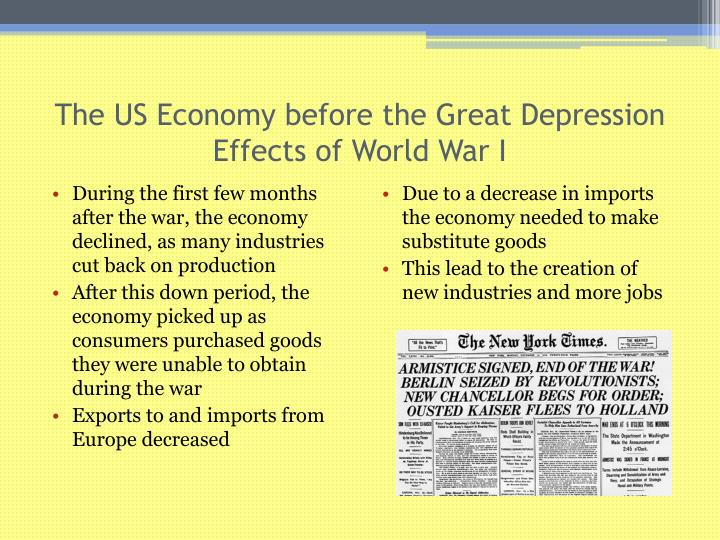 The us economy before the great depression effects of world war i