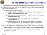 10 usc 2463 special considerations