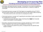 developing an in sourcing plan prioritizing contracted services for in sourcing continued