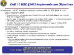 dod 10 usc 2463 implementation objectives