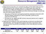 resource management decision rmd 802