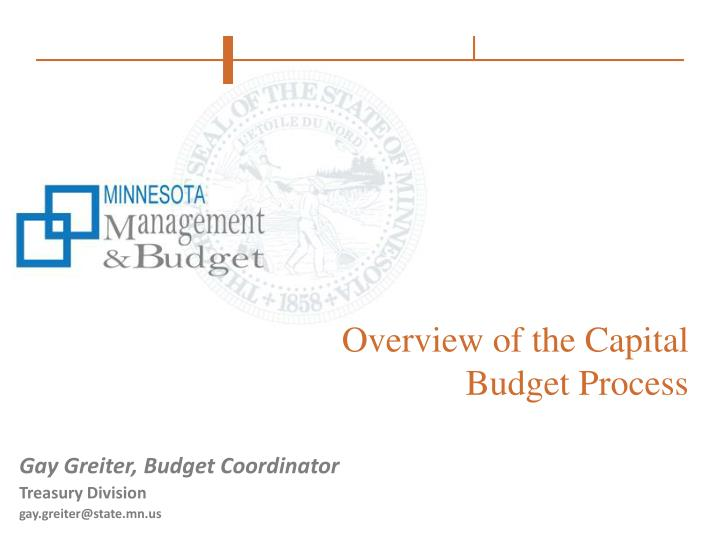 overview of the capital budget process n.