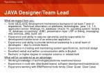 java designer team lead