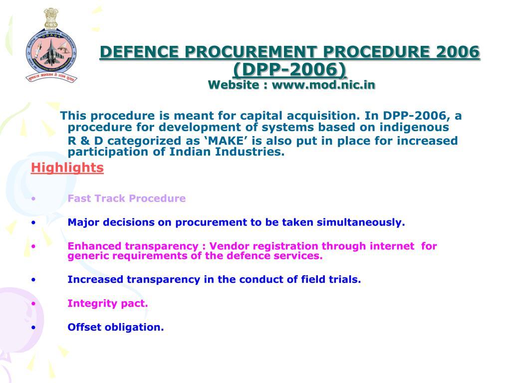 DEFENCE PROCUREMENT PROCEDURE 2006