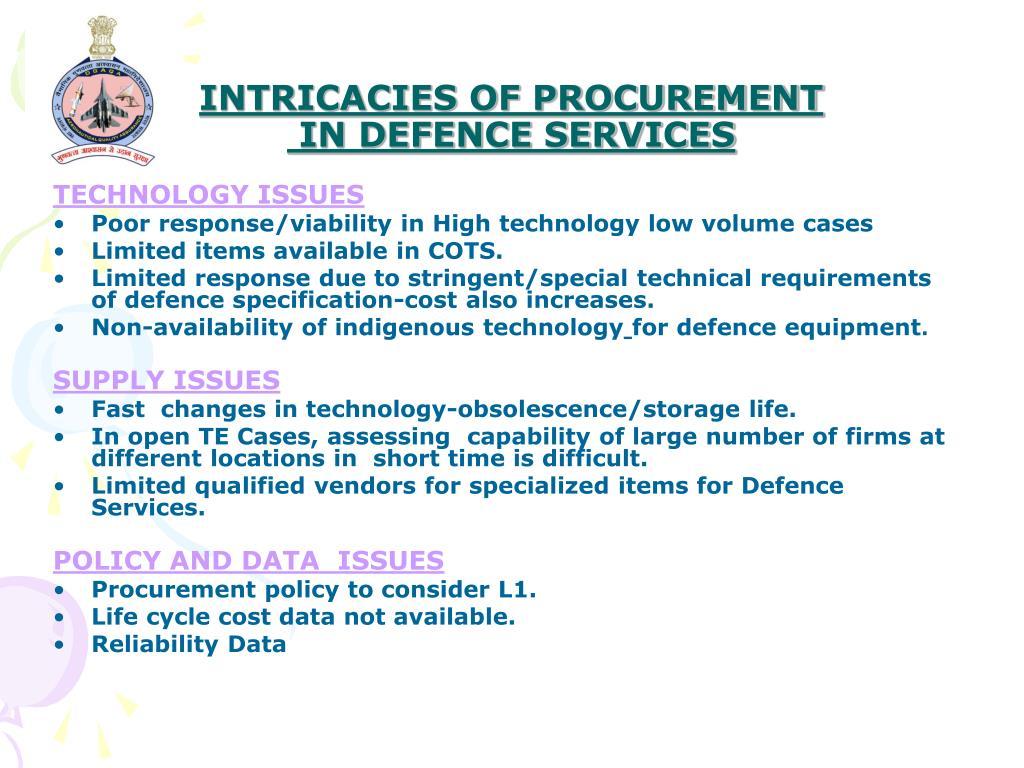 INTRICACIES OF PROCUREMENT