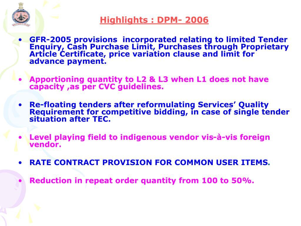 Highlights : DPM- 2006