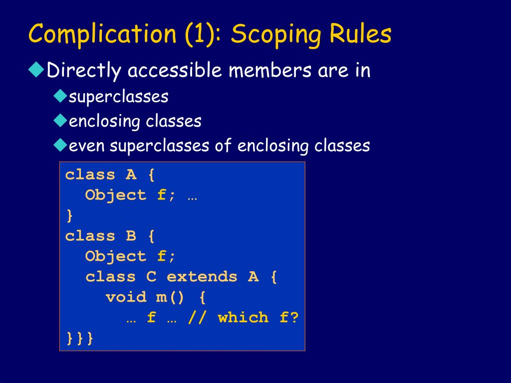 Complication (1): Scoping Rules