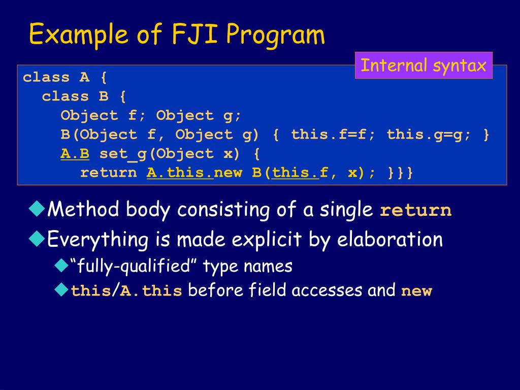 Example of FJI Program