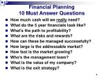 financial planning 10 must answer questions
