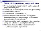 financial projections investor quotes