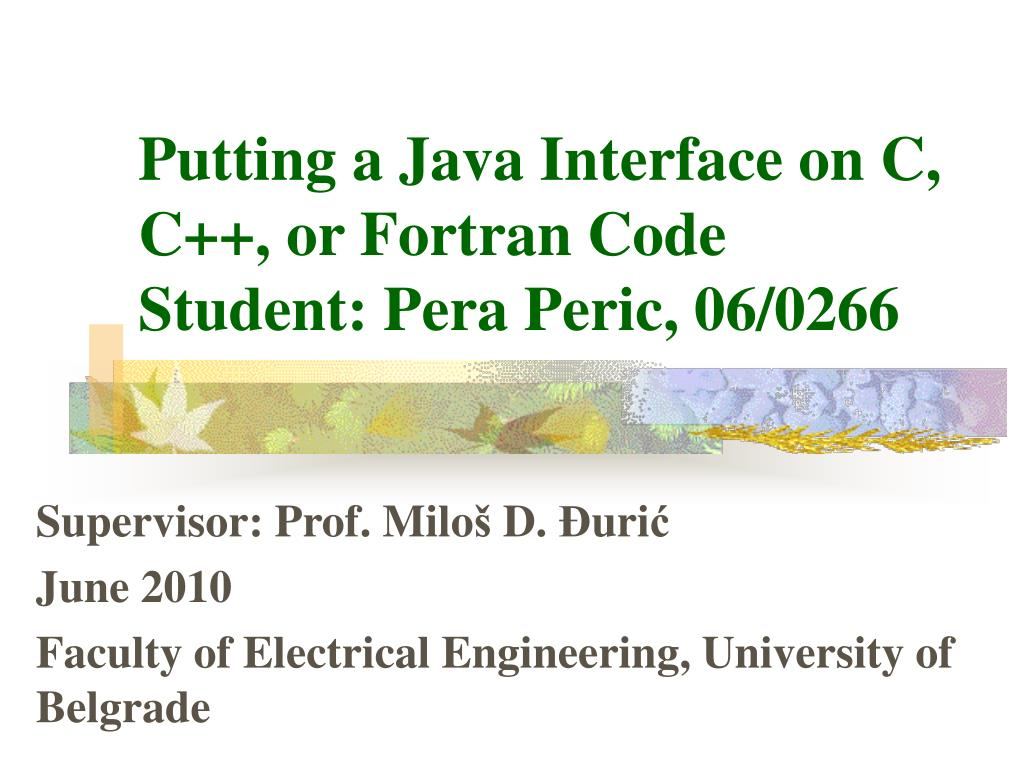 putting a java interface on c c or fortran code student pera peric 06 0266 l.