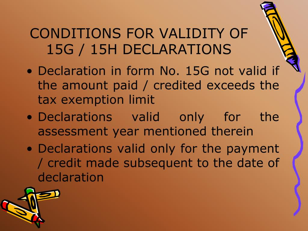 CONDITIONS FOR VALIDITY OF