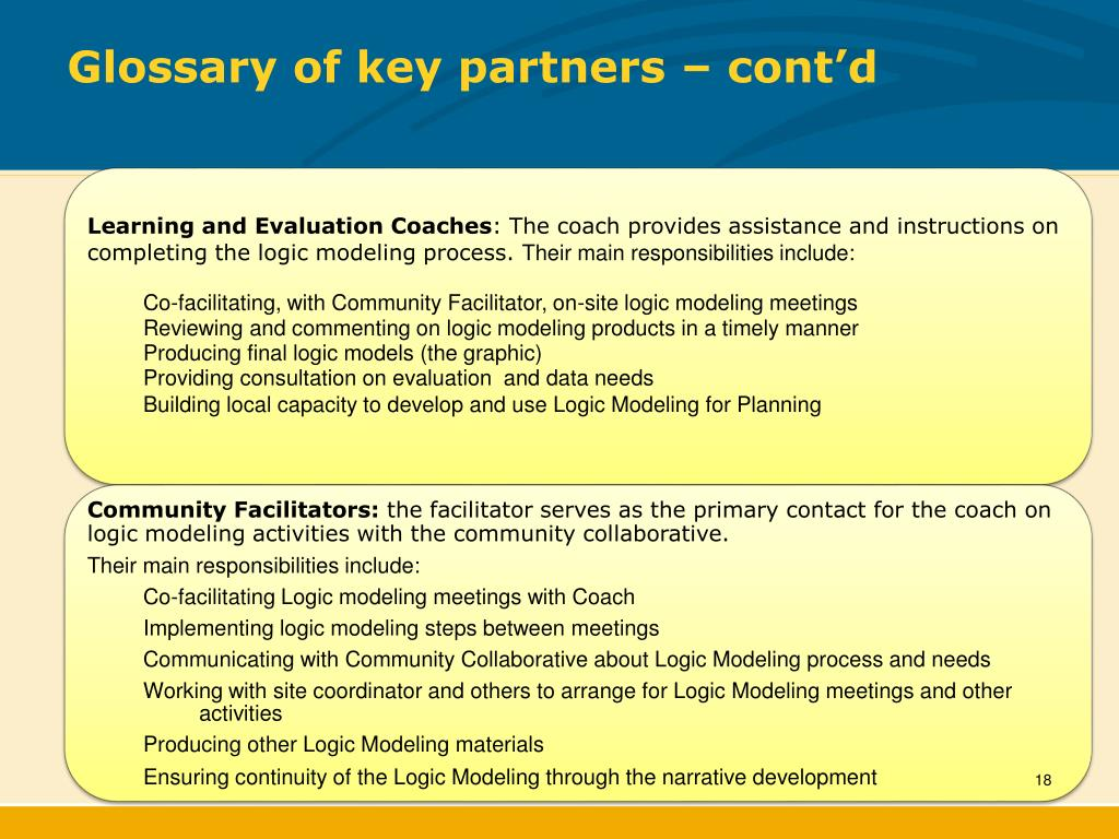Glossary of key partners – cont'd