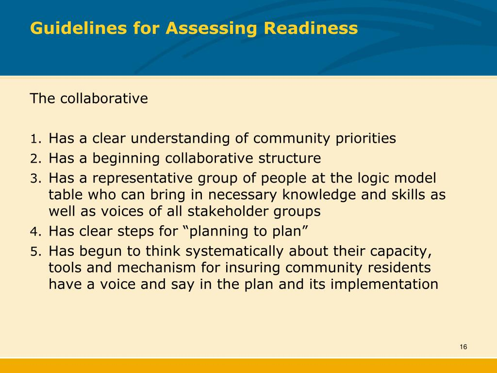 Guidelines for Assessing Readiness