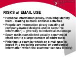 risks of email use