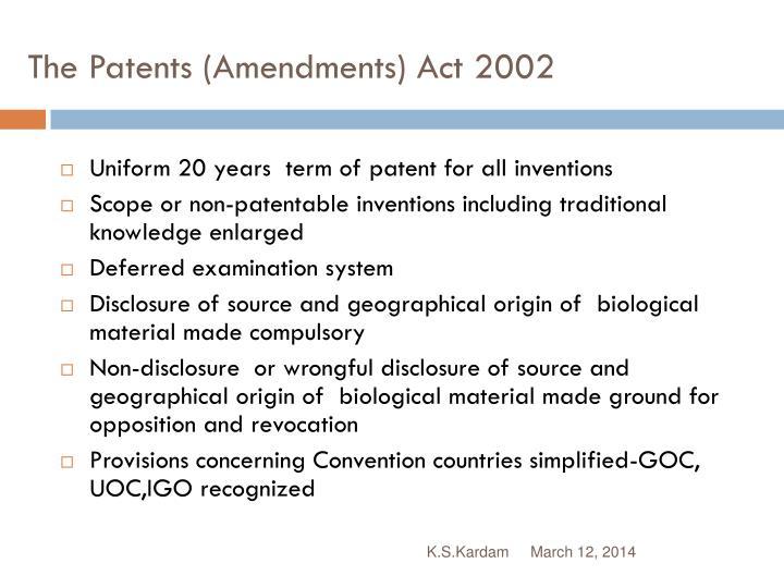 patent amendment act 2002