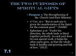 the two purposes of spiritual gifts