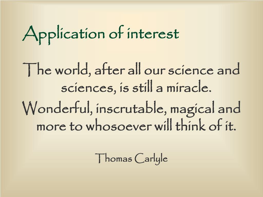 Application of interest