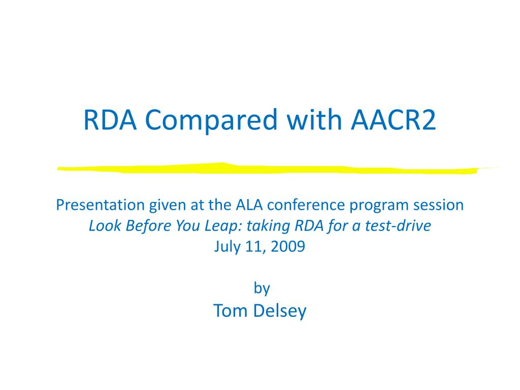rda compared with aacr2 l.