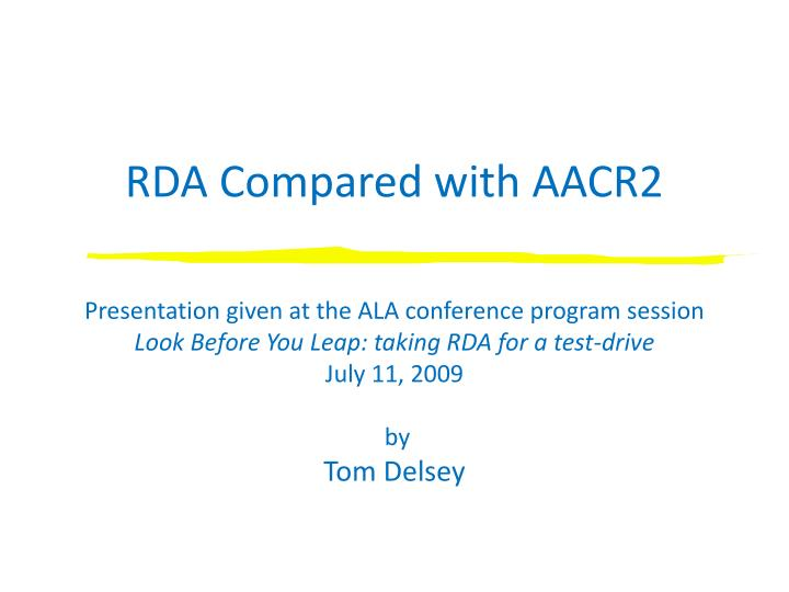 rda compared with aacr2 n.