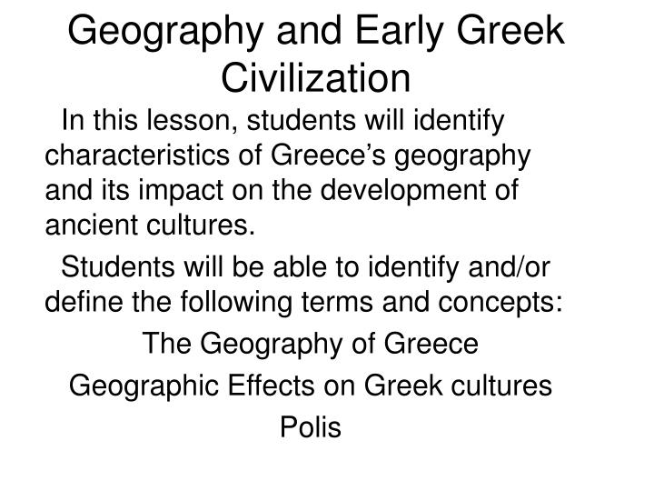 geography and early greek civilization n.