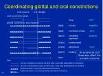 coordinating glottal and oral constrictions