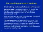 life breathing and speech breathing