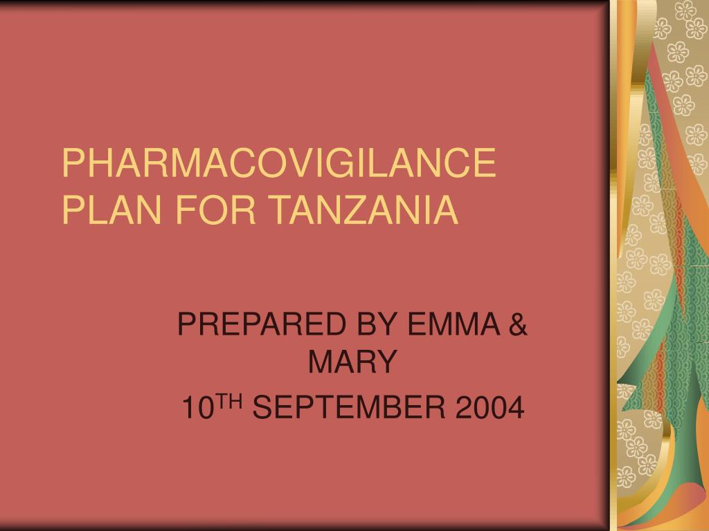 pharmacovigilance plan for tanzania l.